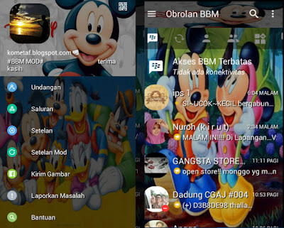 guide BBM Mod Mickey Mouse v3.0.1.25 Pro APK full emoticon