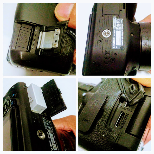 Canon EOS Rebel 3Ti Camera - A four picture collage of the battery compartment release lever, tripod socket, card slot and terminal cover.