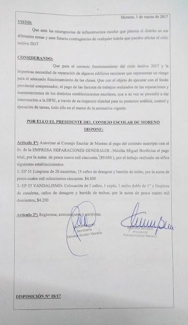 Disposición N° 18/17: Autorización de pago a la empresa Reparaciones Generales por trabajos realizados en EP 51 y EP 53