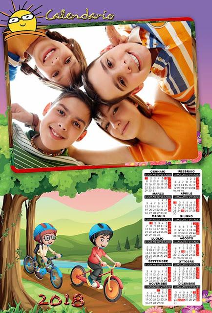 Calendario per bambini con spazio per 1 fotografia orizzontale