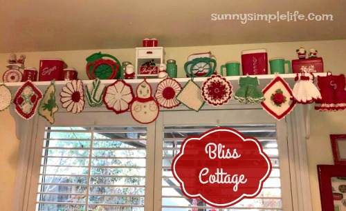 doily valance, Christmas shelf decorating