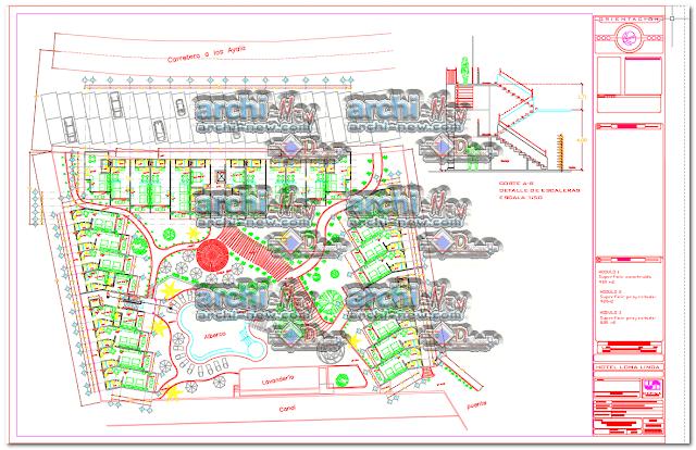 - المساقط الأفقية مشروع فندق dwg