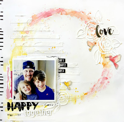 Happy Together Mixed Media Layout by Samantha Mann, Altenew, scrapbook, watercolor, #altenew #scrapbook #layout
