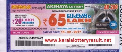 AKSHAYA LOTTERY AK 282 RESULTS 1.3.2017  | Kerala Lottery Result