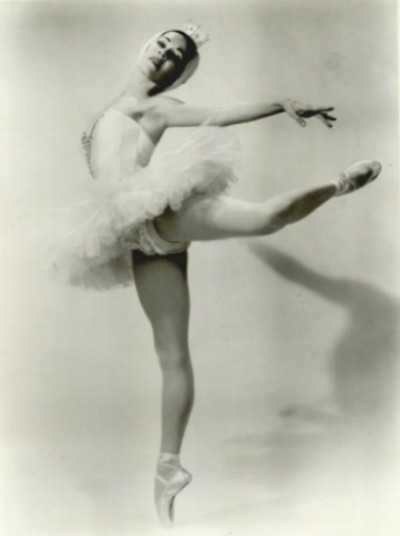 Ballerina Marjorie Tallchief posed in ballet costume