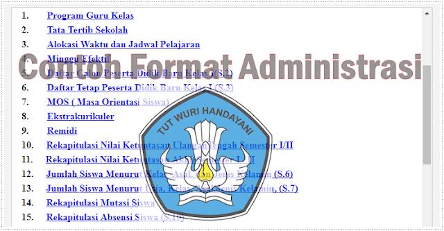 Contoh Format Administrasi Sekolah Dasar Terbaru Tahun Pelajaran 2017/2018