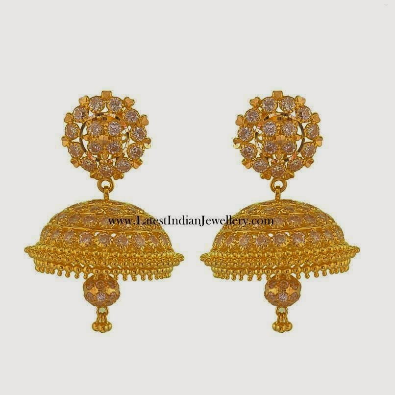 Gold CZ jhumki earrings