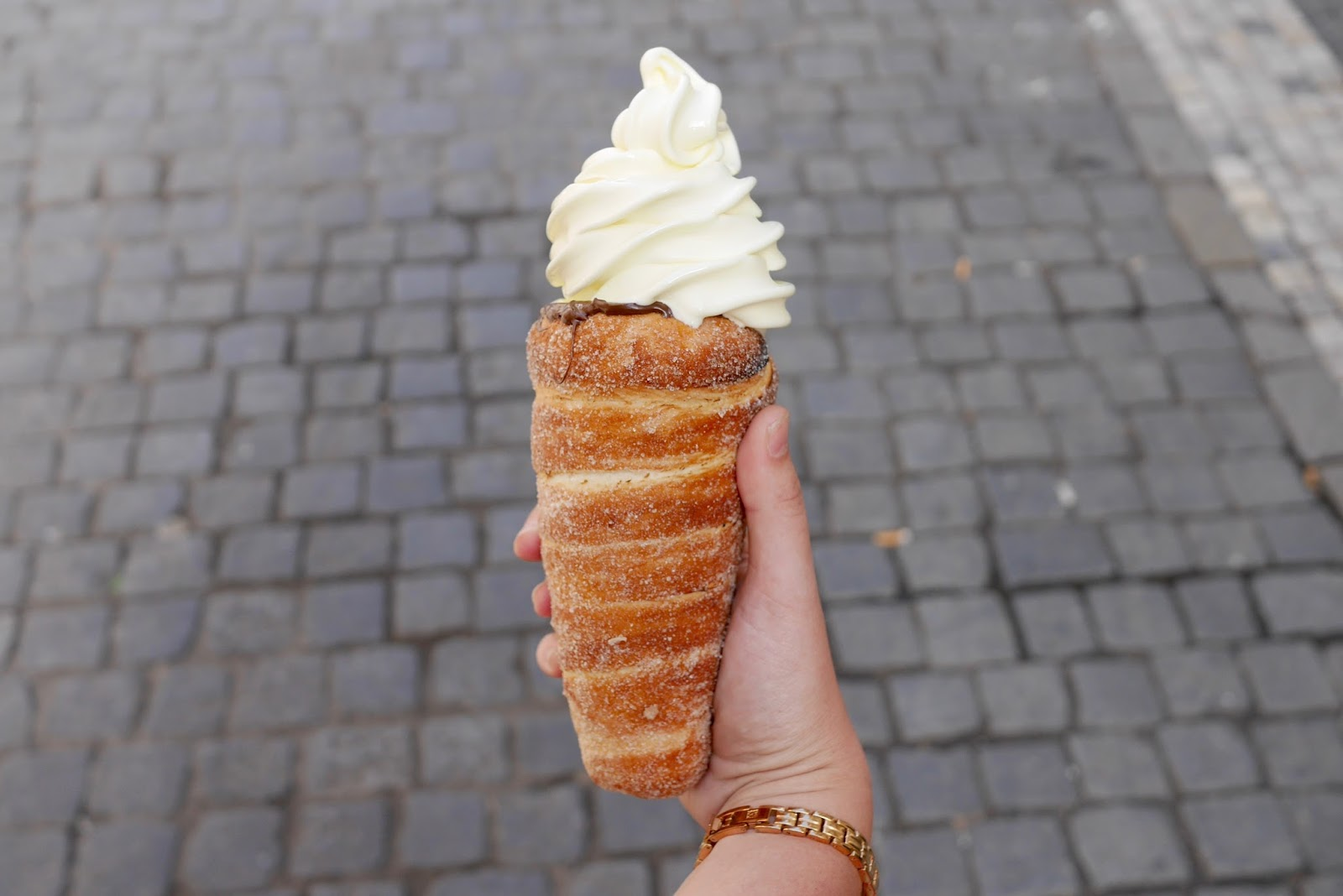 Ice-cream doughnut in Prague, CalMcTravel.com