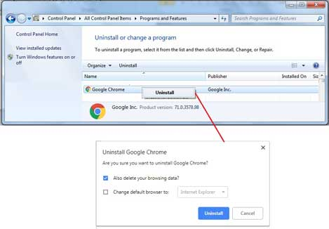 Uninstall Google Chrome from windows