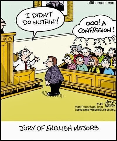 english comic, courtroom humor, court comic, double negative
