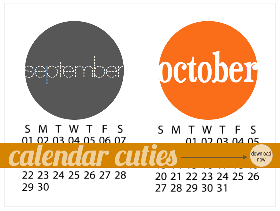 September + October 2013 Calendar Cuties | iloveitallwithmonikawright.com