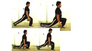 Ejecución desplantes de piernas de ejercicios para adelgazar en casa y tonificar