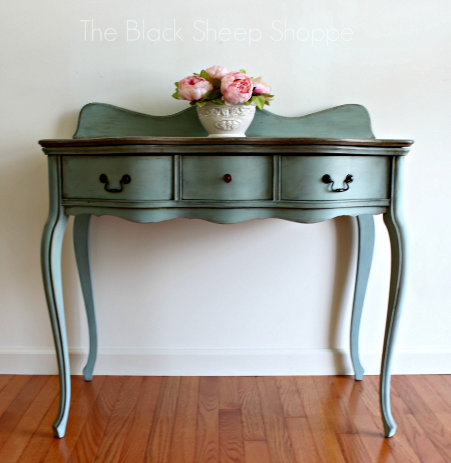 Antique Widdicomb desk painted in Duck Egg Blue and Coco.
