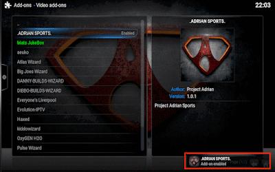 شرح تتبيث اضافة Adrian Sports على برنامج Kodi