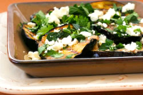 ... Grilled Eggplant with Garlic-Cumin Vinaigrette, Feta, and Two Herbs