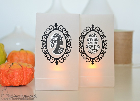 Halloween Luminaries by Tatiana Trafimovich | Creepy Cameos Halloween Stamp Set and Cameo Frame Die Set by Newton's Nook Designs #newtonsnook #handmade