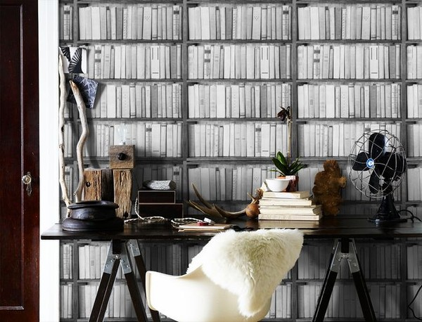 Kirjahylly Tapetti mustavalkoinen kirjahylly tapetti Tapettikirja kirjoja kirja piikit valokuvatapetti