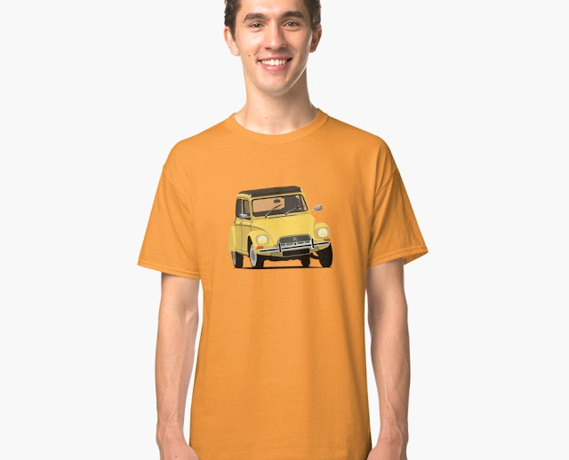 Yellow Citroen Dyane automobile T-shirt - 60's