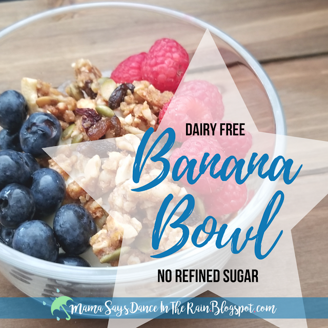 Banana Bowl - My version of an acai bowl or smoothie bowl gone bananas. Simple, quick, and addicting! Great for breakfast, snack, or healthy dessert. Kid Approved!