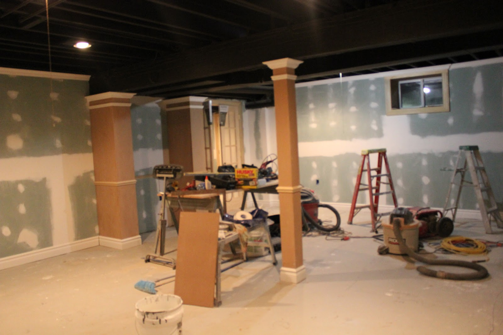 Painting Exposed Wood Ceiling: Basement Remodel With Painted Exposed Ceiling