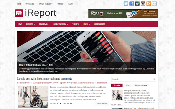 iReport Free Blogger Template