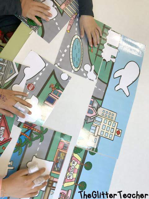 Juego de siluetas tipo puzzle y posters de los medios de transporte