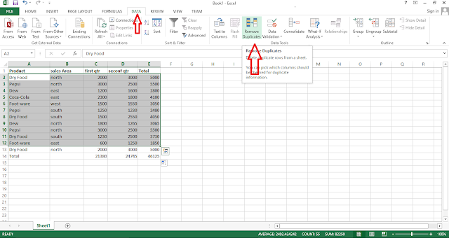 Remove Duplicate values in excel