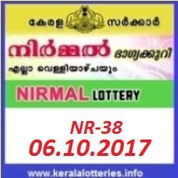 Kerala lottery result of Nirmal Lottery NR-38 on 06-10-2017