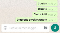 Grassetto su Whatsapp, corsivo e testo barrato