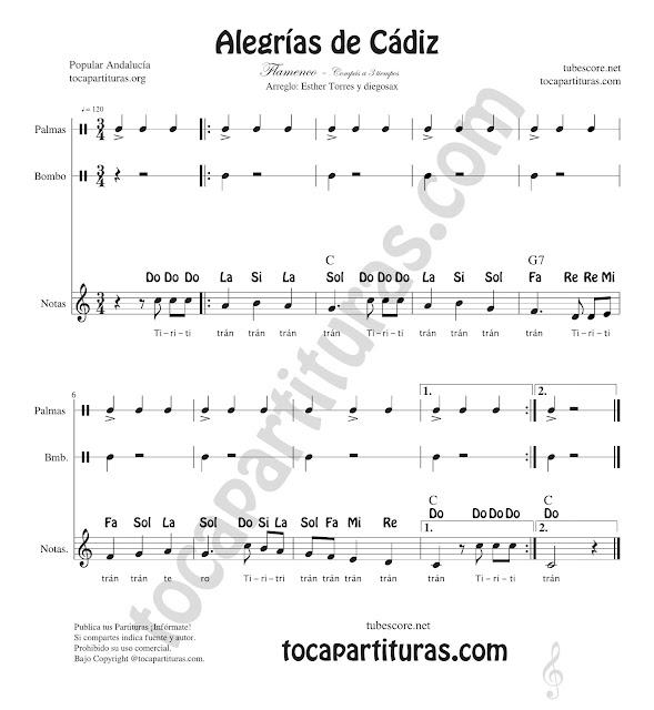 Como tocar las Palmas a tres tiempos con una Alegrías de Cádiz, pulso y acento con Bombo y Palmadas. Notas de Flauta, Violín Oboe... e instrumentos en Clave de Sol