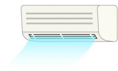 冷たい風を出しているエアコンのイラスト