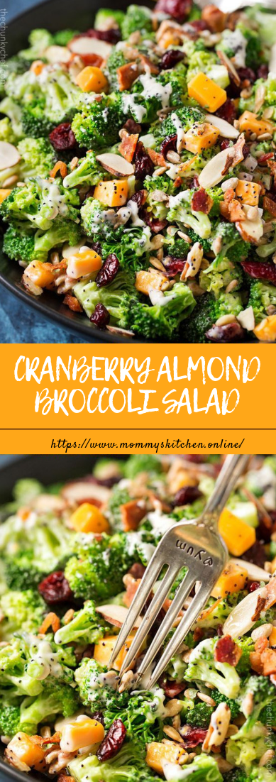 CRANBERRY ALMOND BROCCOLI SALAD #saladeasy #recipevegan