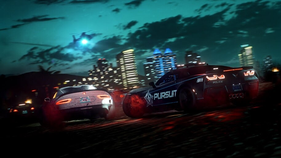 Need For Speed Heat Cars Night Police Pursuit 4k Wallpaper