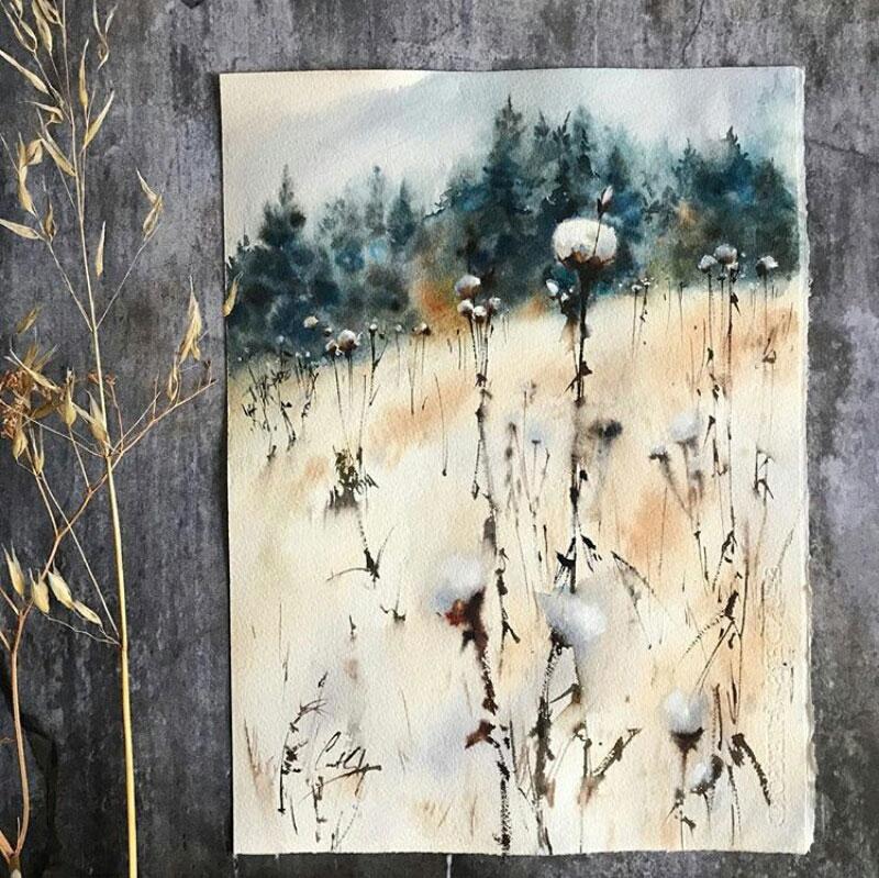 lukisan pemandangan ladang