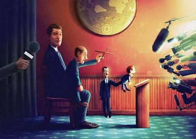 Lustige Bilder über die Politiker die im Hintergrund die Fäden ziehen