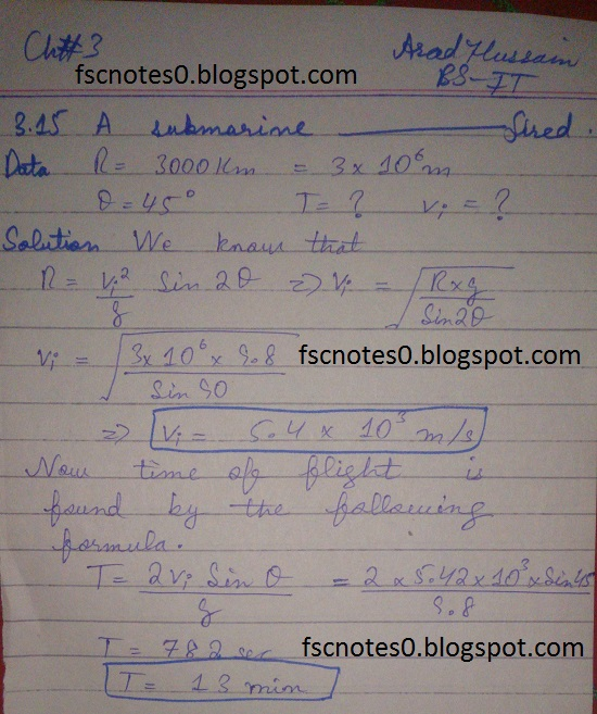 F.Sc ICS Notes: Physics XI: Chapter 3 Motion and Force Numerical Problems Asad Hussain 10