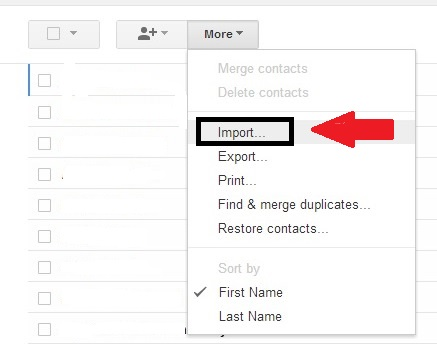 select menu and select the target file to import from