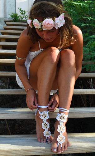 sandália descalça crochê modelo flor