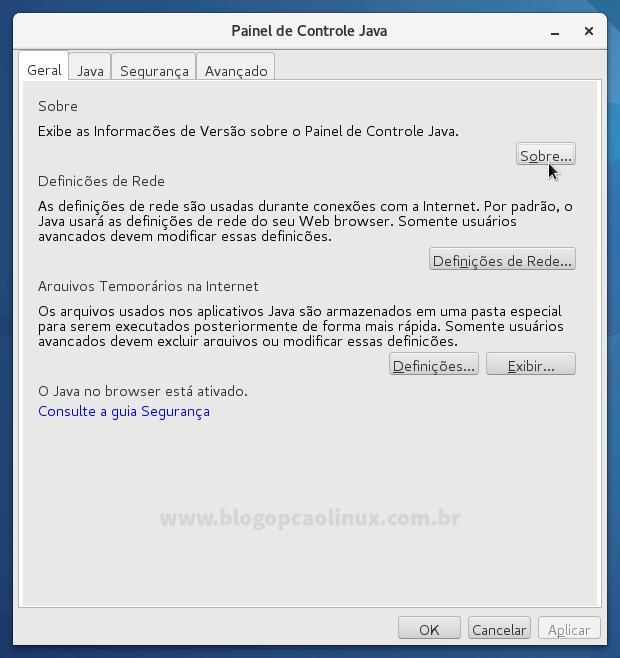 Painel de Controle do Java