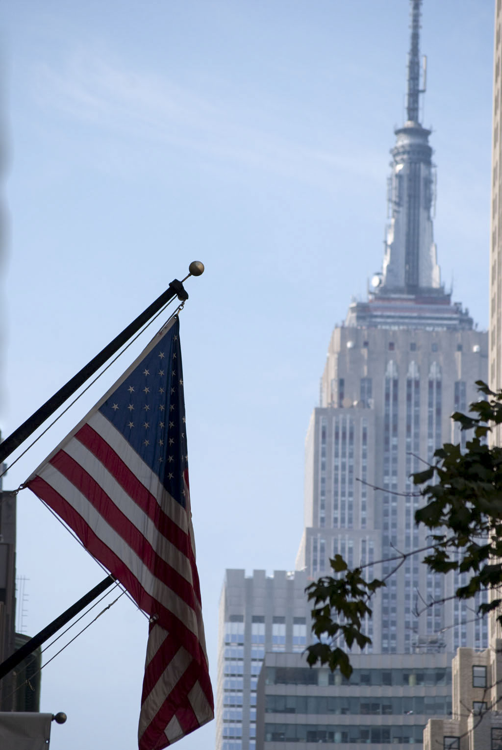 america flag empire state building nyc