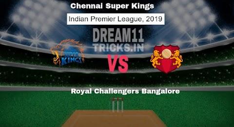 RCB vs CSK DREAM11 GRAND LEAGUE TEAM | Royal Challengers Bangalore vs Chennai Super Kings IPL 2019
