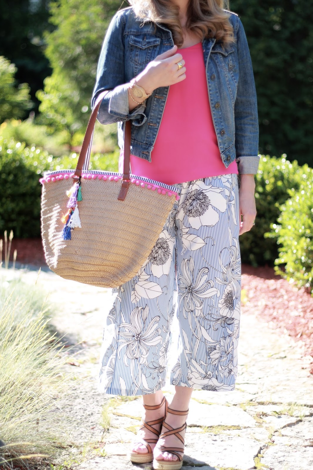 denim jacket, pink Express Barcelona cami, blue striped floral culottes, straw tassel tote, second trimester summer maternity outfit
