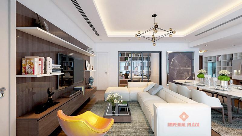 Phòng khách căn hộ mẫu Imperial Plaza