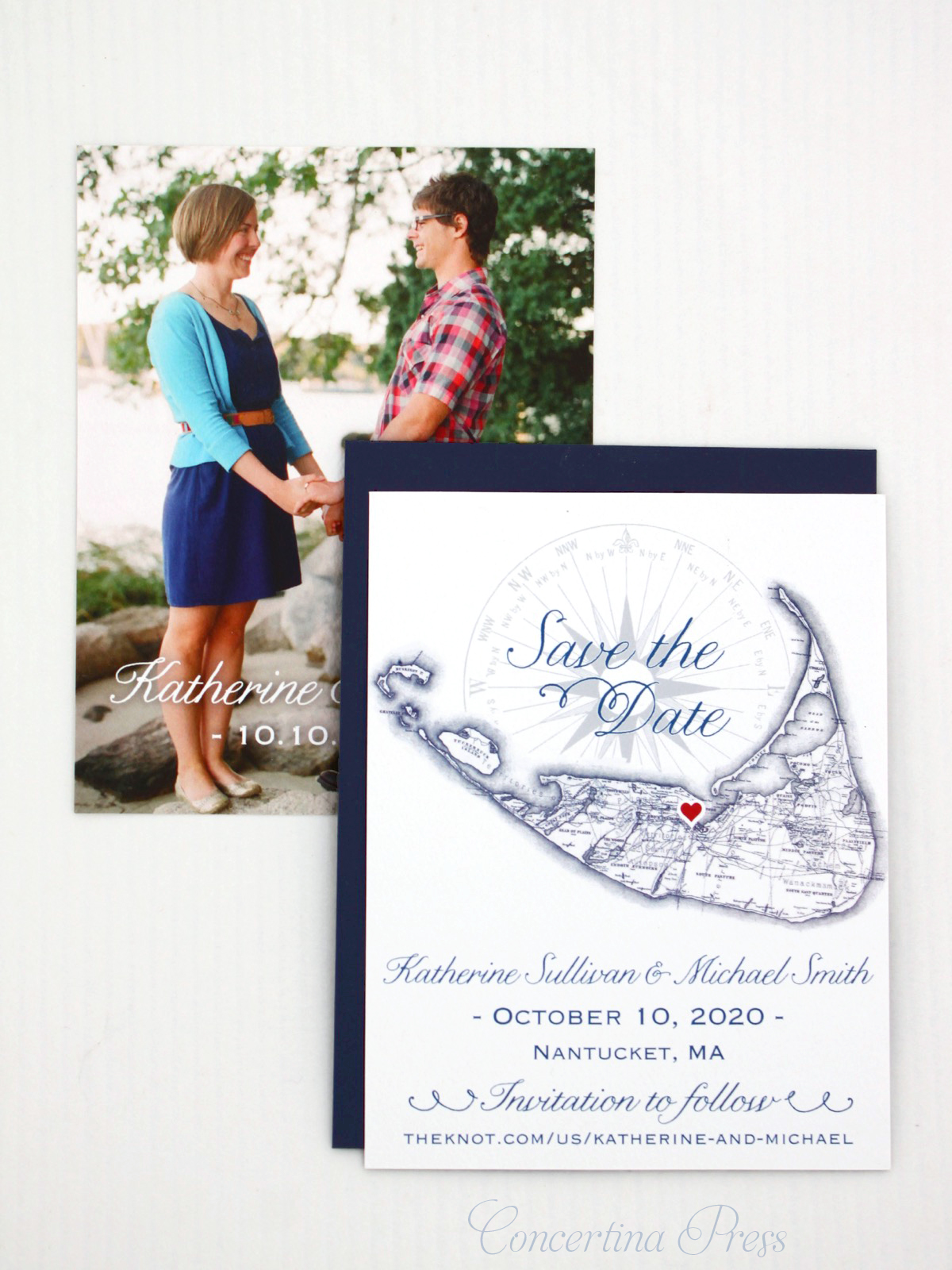 Nantucket Map Save the Date from Concertina Press