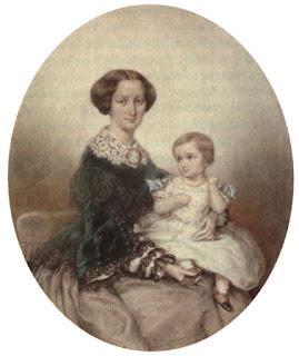 Ernst Benedikt Kietz: Mathilde Wesendonck mit ihrem Sohn Guido. 1856
