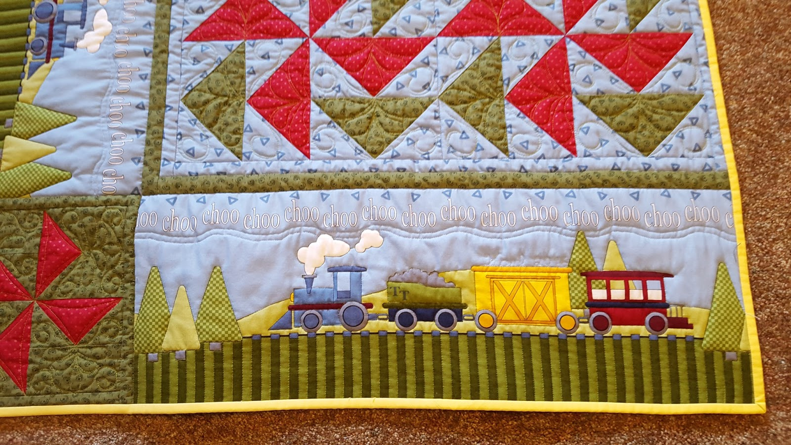 Colleen 39 s quilting journey toy train quilt for katrina for Fabric with trains pattern