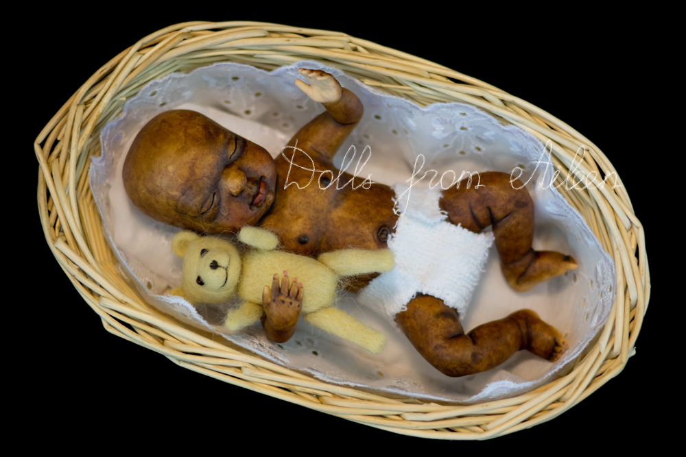 OOAK anatomically correct sleeping African baby boy doll