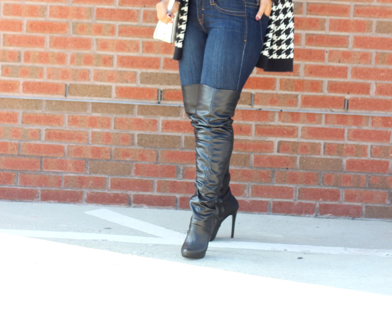 over the knee boots, otk, fall outfits, cardigans, houndstooth print, forever21