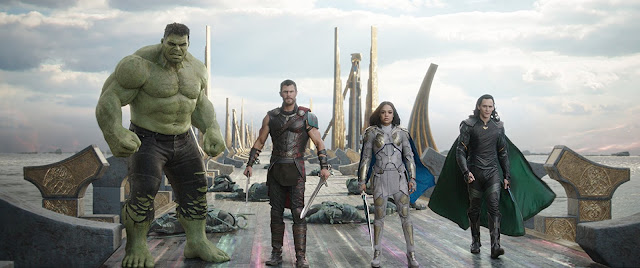 Hulk, Thor, Valkyrie and Loki lined up on the bridge about to fight Helena