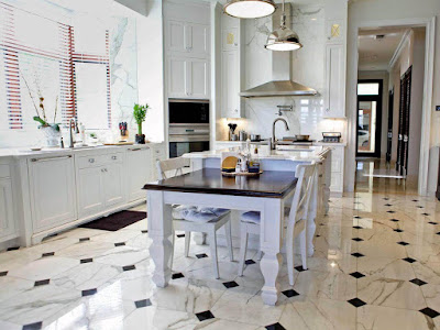 Kitchen Room Marble Flooring Applications